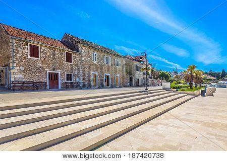 Amazing sunny day in Starigrad town, popular touristic resort on Island Hvar, Croatia.