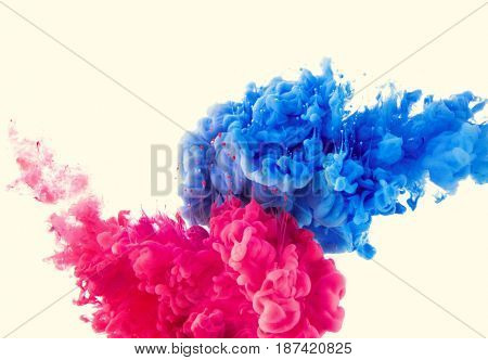 mix of red and blue ink splashes on white background
