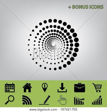 Abstract technology circles sign. Vector. Black icon at gray background with bonus icons