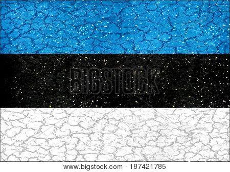 Estonia Grunge Style National Flag
