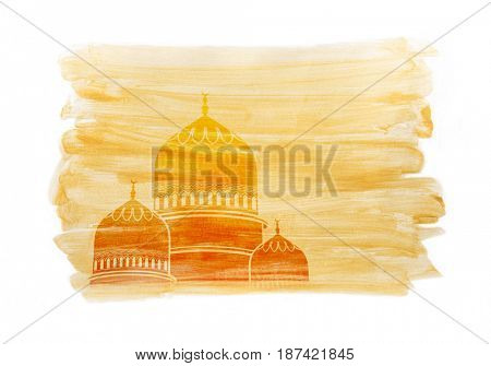 An artist's drawing of a mosque dome on golden color brush strokes. Beautiful illustration background for Islamic festivals.