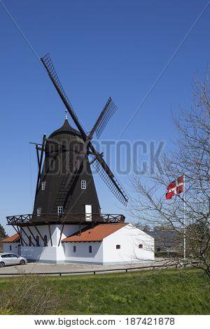 Historic windmill housing a museum at Grenaa on the Baltic Sea coast, Jutland, Denmark