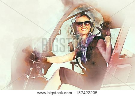 Attractive woman pilot sitting in the helicopter. Digital watercolor painting