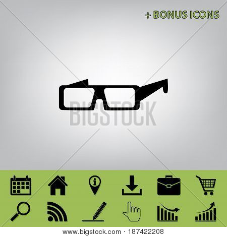 Modern glass sign. Vector. Black icon at gray background with bonus icons