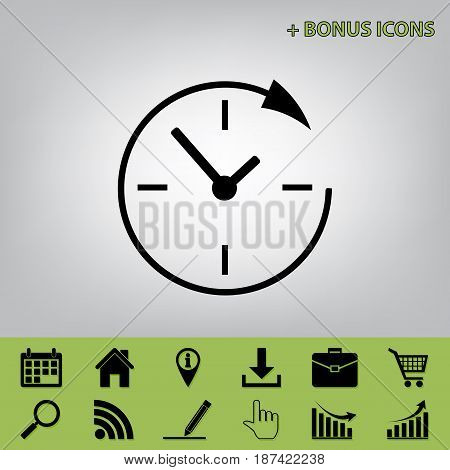 Service and support for customers around the clock and 24 hours. Vector. Black icon at gray background with bonus icons