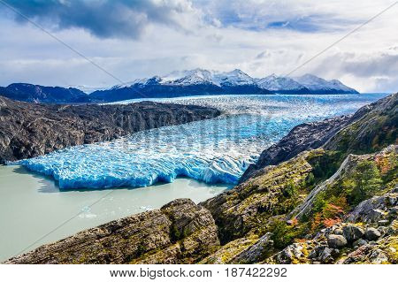Grey Glacier, Patagonia, Chile - a glacier in the Southern Patagonian Ice Field, Cordillera del Paine