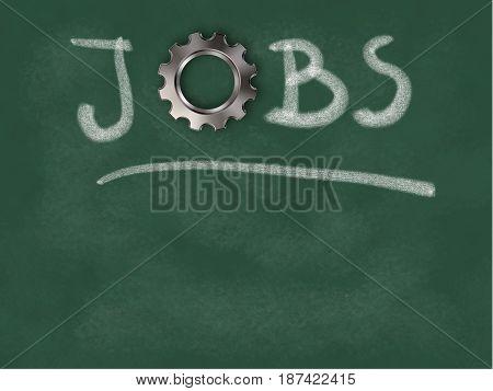 the word jobs with gear wheel on chalkboard - 3d illustration