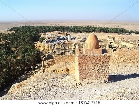 Ruins of a Berber village near the mountain oasis of Shebika. Tunisia