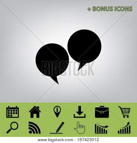 Two speech bubble sign. Vector. Black icon at gray background with bonus icons
