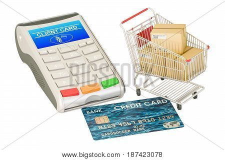 Order payment and delivery concept. Credit card and shopping cart with parcels 3D rendering isolated on white background