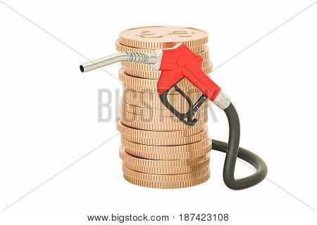 stack of golden coins with fuel pump nozzle 3D rendering
