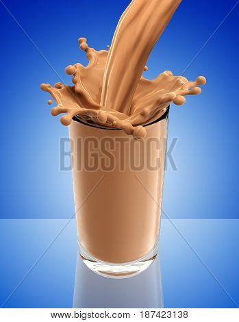 Splash of chocolate milk from the glass .Blue background. 3d rendering