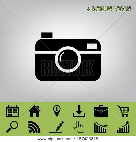 Digital photo camera sign. Vector. Black icon at gray background with bonus icons