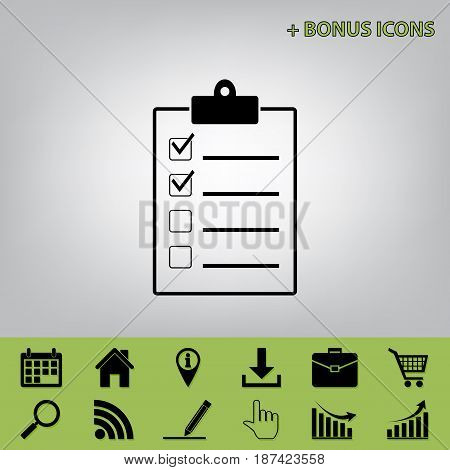 Checklist sign illustration. Vector. Black icon at gray background with bonus icons