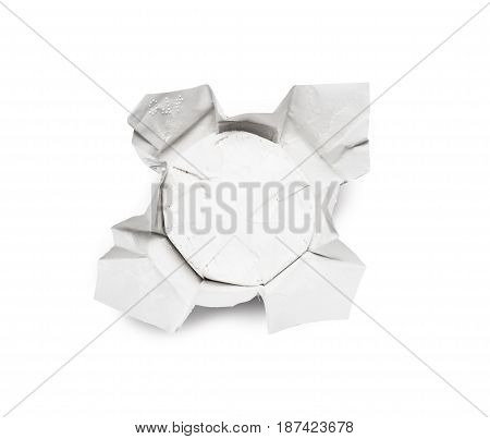 Unpacked traditional fresh Camembert cheese natural isolated on white background