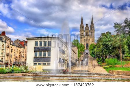 Fountain and the Saint Maurice Cathedral of Angers in France