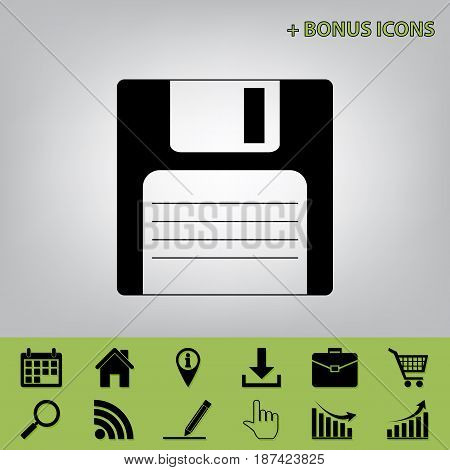 Floppy disk sign. Vector. Black icon at gray background with bonus icons