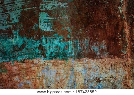 Old Rusty Painted A Metal Sheet