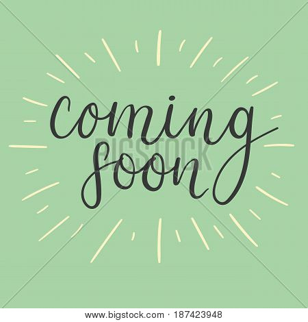Coming soon handwritten text. Modern brush calligraphy. Hand drawn vector banner.