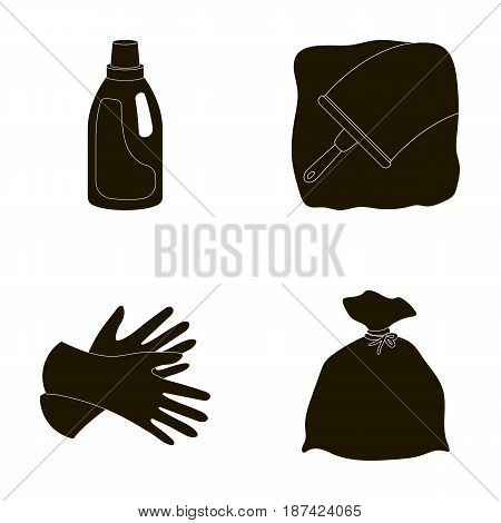 Gel for washing in a pink bottle, yellow gloves for cleaning, a brush for glass, a black bag for garbage or waste. Cleaning set collection icons in black style vector symbol stock illustration .