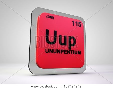 ununpentium - Uup - chemical element periodic table 3d illustration