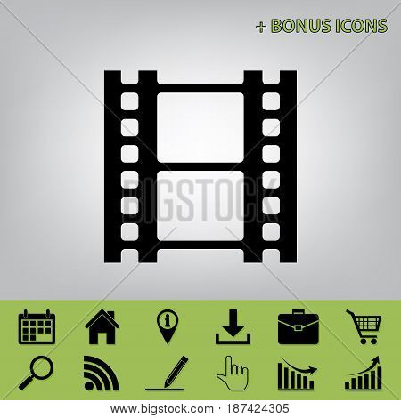 Reel of film sign. Vector. Black icon at gray background with bonus icons