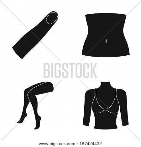 Finger, female feet, female, bust. Part of the body set collection icons in black style vector symbol stock illustration .