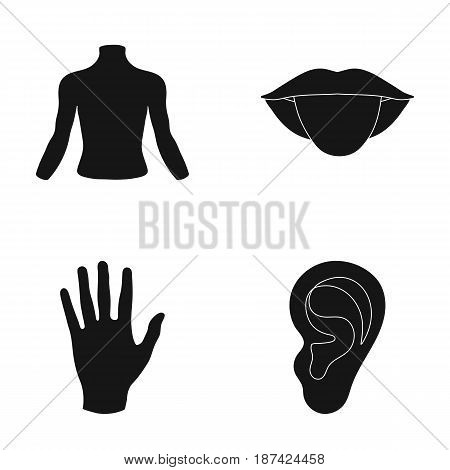 Back of the person, mouth, hand, ear. Part of the body set collection icons in black style vector symbol stock illustration .