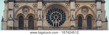 Notre Dame de Paris closeup view panorama as the famous city landmark.