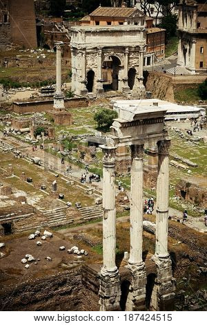 Columns. Rome Forum with ruins of historical buildings. Italy.
