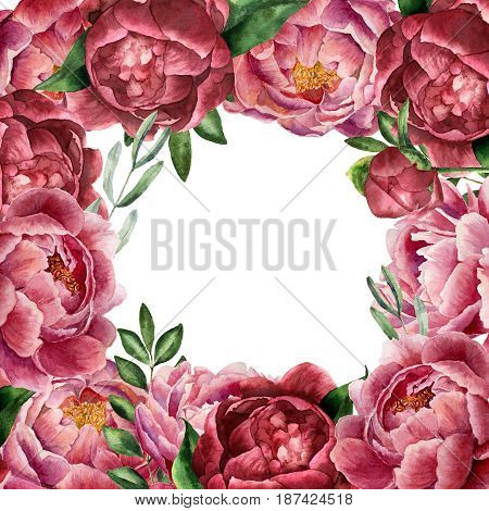 Watercolor floral card with peony and greenery. Hand painted border with flowers with leaves, branch of eucalyptus and rosemary isolated on white background. Botanical illustration for design