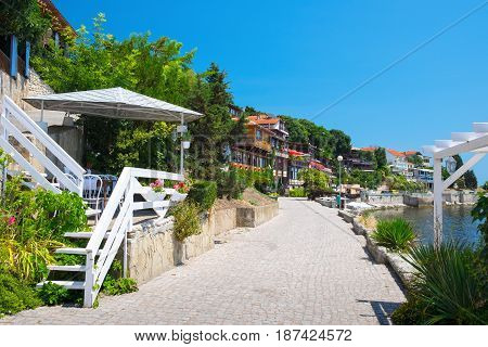 Street in ancient town of Nesebar Bulgaria