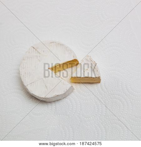 Fresh slice Camembert cheese natural, on white paper background. With clipping path