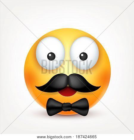 Smiley with mustache, smiling emoticon. Yellow face with emotions. Facial expression. 3d realistic emoji. Funny cartoon character.Mood. Web icon. Vector illustration.