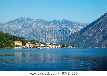 View of Kotor Bay near Stoliv Montenegro
