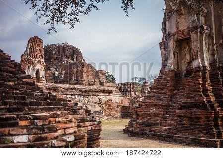 Ayutthaya temple ruins, Wat Maha That Ayutthaya as a world heritage site, Thailand. Ayutthaya historical park