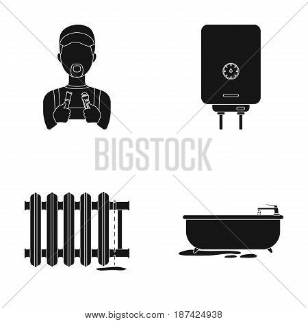 Plumber, boiler and other equipment.Plumbing set collection icons in black style vector symbol stock illustration .