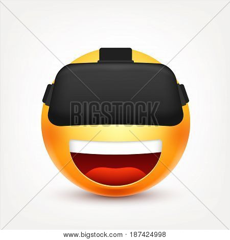 Smiley with VR glasses, smiling emoticon. Yellow face with emotions. Facial expression. 3d realistic emoji. Funny cartoon character.Mood. Web icon. Vector illustration.