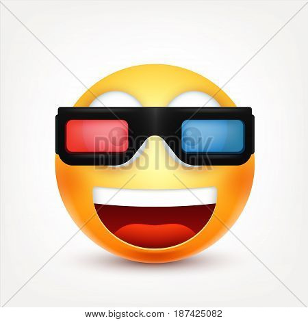 Smiley with 3d glasses, smiling emoticon. Yellow face with emotions. Facial expression. 3d realistic emoji. Funny cartoon character.Mood. Web icon. Vector illustration.