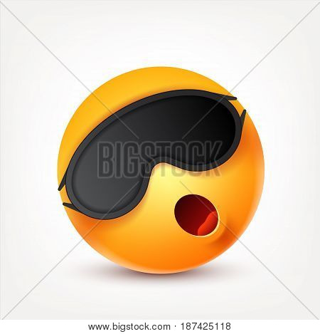 Smiley sleep, smiling emoticon. Yellow face with emotions. Facial expression. 3d realistic emoji. Funny cartoon character.Mood. Web icon. Vector illustration.