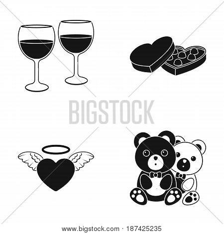 Glasses with wine, chocolate hearts, bears, valentine.Romantik set collection icons in black style vector symbol stock illustration .