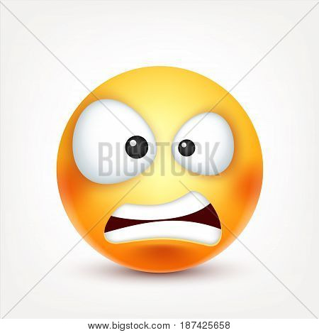 Smiley angry, smiling emoticon. Yellow face with emotions. Facial expression. 3d realistic emoji. Funny cartoon character.Mood. Web icon. Vector illustration.
