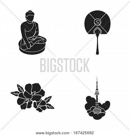 Buddha statue, national fan, hibiscus flower, Seoul tower. South Korea set collection icons in black style vector symbol stock illustration .