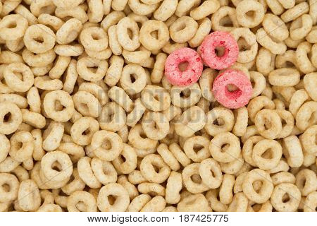 Beige round cereal for a healthy cereal background