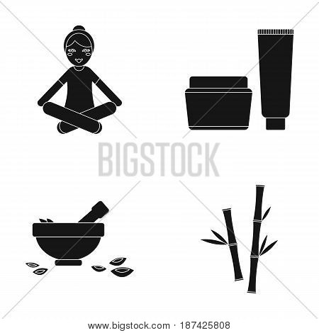 A girl in a yoga lotus pose, a jar of cream and a tube of ointment, a crush with a bowl and rose petals, bamboo with green leaves. Spa set collection icons in black style vector symbol stock illustration .
