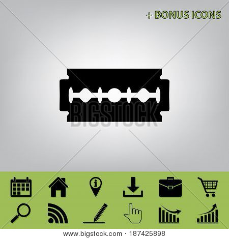 Razor blade sign. Vector. Black icon at gray background with bonus icons