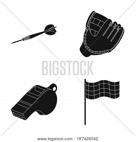 Darts for the game of darts, whistle for the referee, glove for playing baseball, checkbox for the football field. Sport set collection icons in black style vector symbol stock illustration .