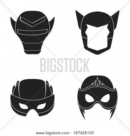 Helmet, mask on the head.Mask super hero set collection icons in black style vector symbol stock illustration .