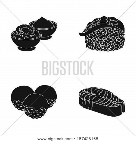 Wasabi sauce and ginger, salmon steak, octopus. Sushi set collection icons in black style vector symbol stock illustration .