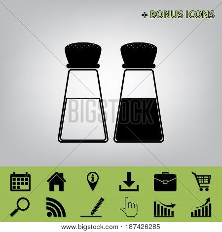 Salt and pepper sign. Vector. Black icon at gray background with bonus icons
